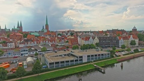Lubeck aerial view, Germany.