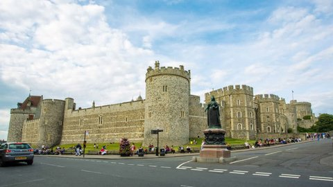 Windsor Castle and  Statue of Queen Victoria