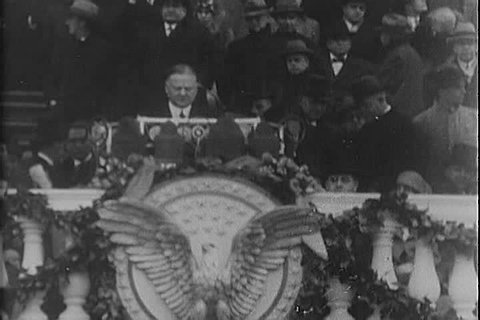 Highlights are shown from President Hoover and FDR's inaugural speeches, including FDR's in 1933. (1920s)
