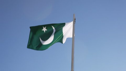 Textile flag of Pakistan on a flagpole