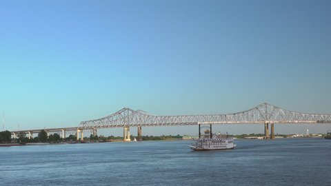 Riverboat on Mississippi passing by New Orleans