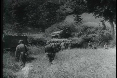 In summer 1944, the American and Allied soldiers make their way through France to fight against the German army. (1960s)