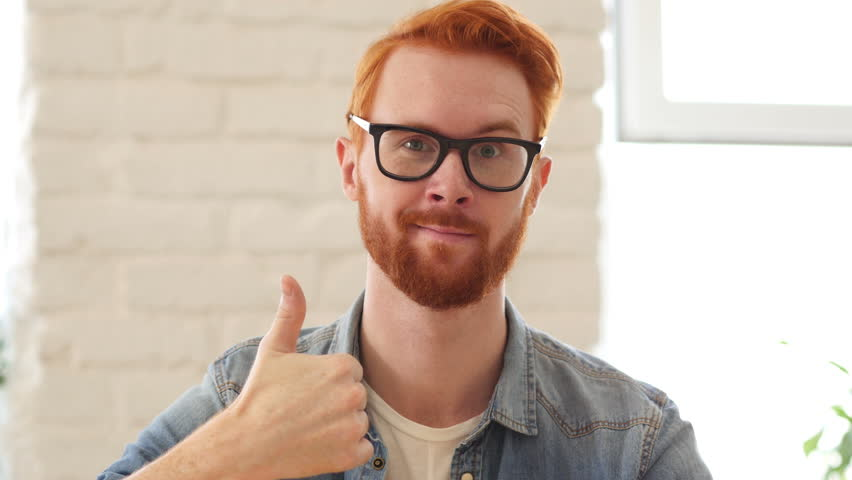 Reaction of Success, Thumbs Up, Appreciating Man with Beard and Red Hairs