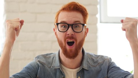 Reaction of Win, Success by Excited Man with Beard and Red Hairs, Portrait