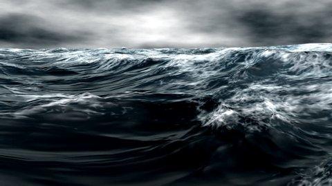 Thunderstorm in the ocean, cruel weather conditions.