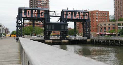 Pier and Long Island City at daytime, seen from Gantry Plaza State Park, Queens, New York City.