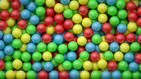 3d render, falling colorful balls, kids toys, plastic balls, playground, abstract background