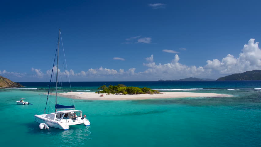 Aerial view of a luxury Catamaran at Sandy Spit, BVI
