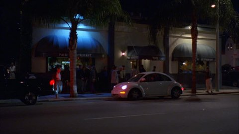 night Across PALM RESTAURANT w green awnings White newer VW Beetle pulls up parks, busy, raked Left, Palm trees, Los Angeles font color red b NO Clearance needed name removed street not visible, U