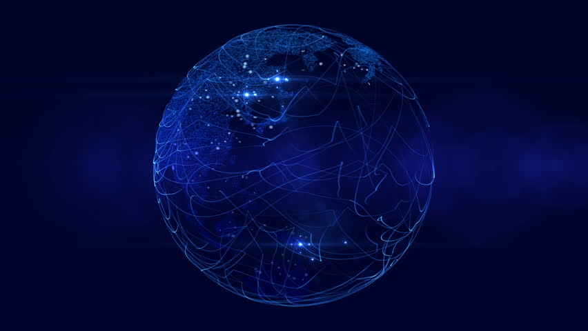 Blue Digital Globe With City Lights. Broadcast ready motion graphic.