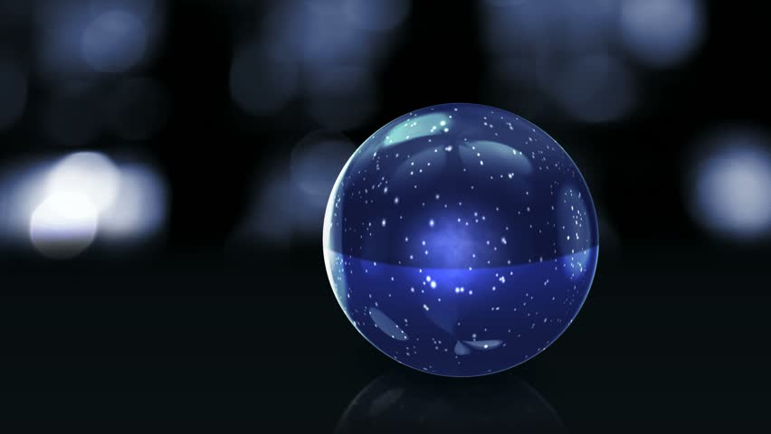 blue glass ball with snow