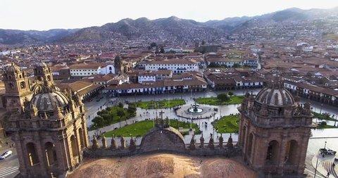 CUSCO, PERU Shot over the main square Cusco