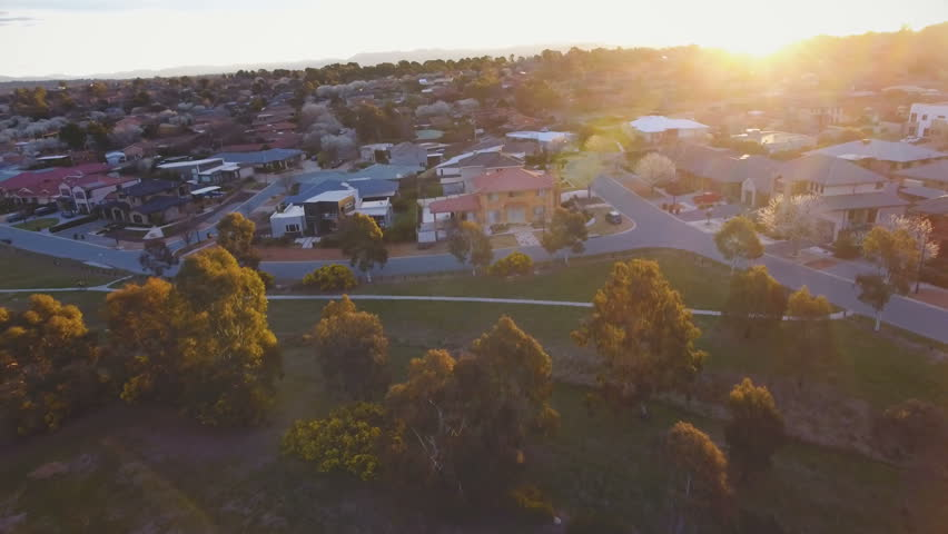 4k clip of a typical Australian suburb from above