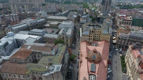 4K Aerial Shot Of Bucharest City Center, Romania