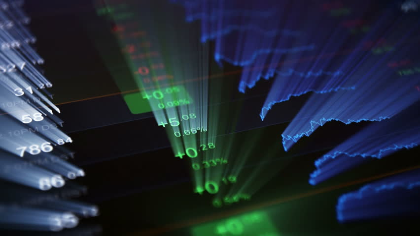Financial background. Abstract black background with blue ray of light from screen. A glowing screen with stock market tickers and chart. Abstract financial numbers and chart. | Shutterstock HD Video #19255900