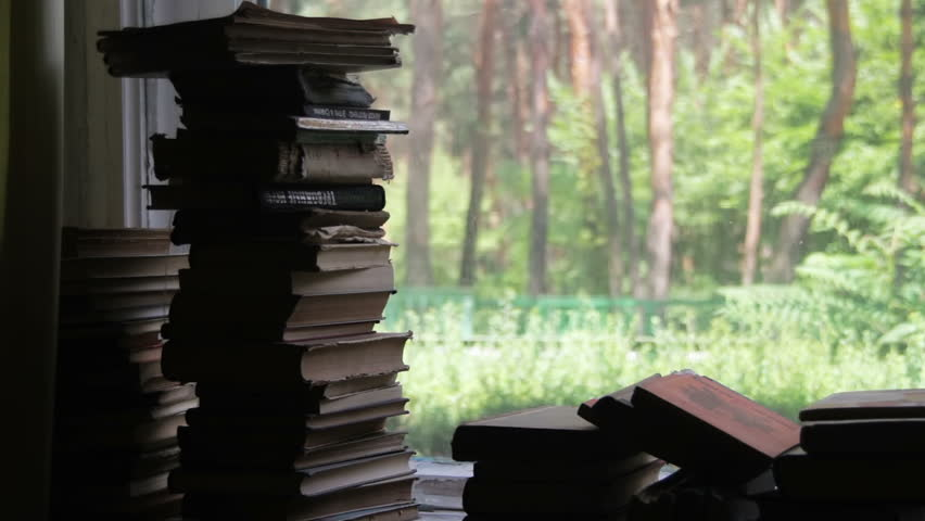 Stacks Of Books Lying On A Window Sill On The Background Green Forest  Outside   HD
