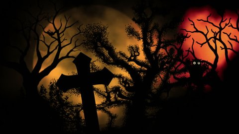 Animated stylish background useful for halloween,spooky, scary, haunted, eerie, ghost, or terror. background with the elements during Halloween such as, ghost, bats, pumpkins, and so on.
