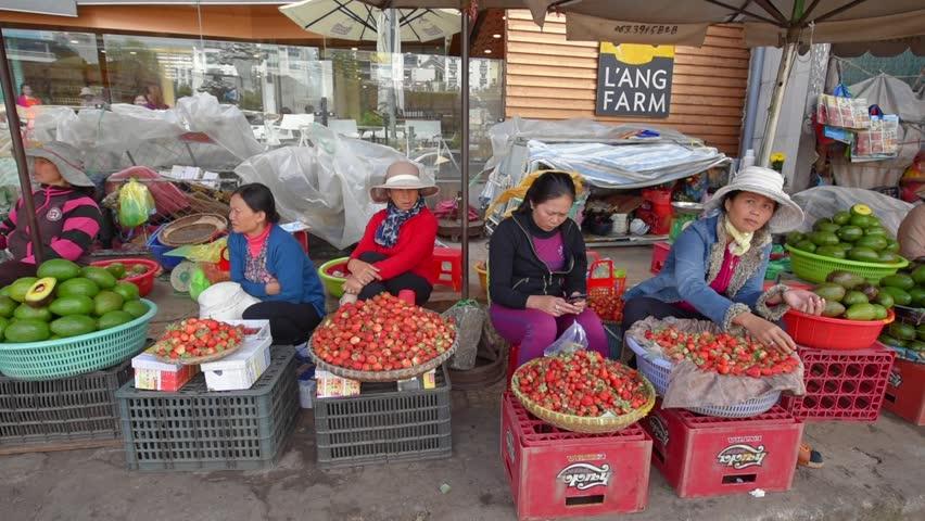 DA LAT, VIETNAM - August 30, 2016: Vietnamese women sell strawberry and fruits at a local market.
