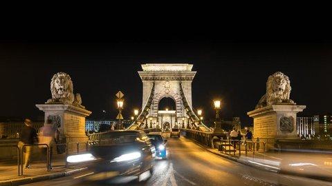 Budapest Chain Bridge timelapse at night, Budapest, Hungary, 4K Time lapse