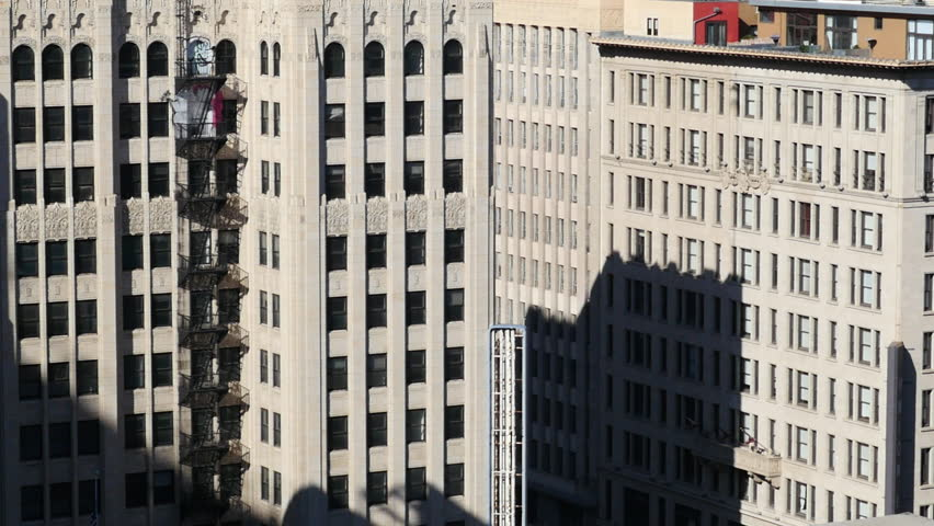 Time Lapse of Shadows Passing Over Historic Buildings in Downtown Los Angeles
