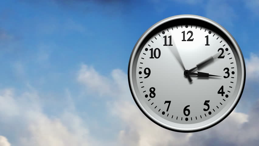 3D animation of a wall clock running very fast through 24 hours. Clouds fly past
