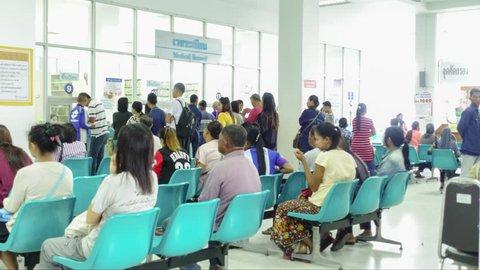 BANGKOK, THAILAND - SEPTEMBER 8, 2016: Unidentified peoples in hospital waiting for doctor or medicine in the room at bangkok hospital.