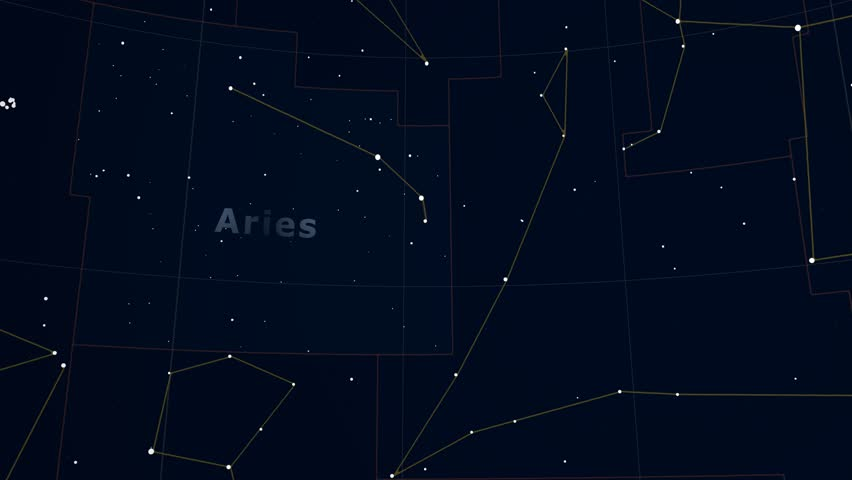 Constellation of Aries. Bright stars (up to 6.5M) - vector shapes. Constellation figures and boundaries. Equator, ecliptic and galactic equator reference lines | Shutterstock HD Video #19406941