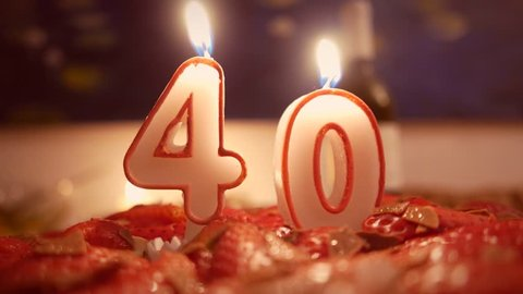 40 Birthday Candles Stock Video Footage