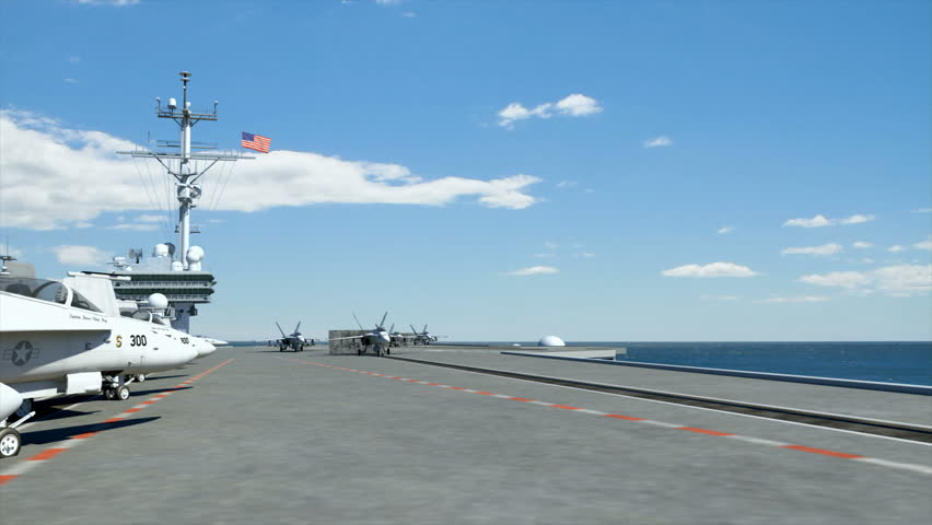 Three F18 hornets taking off from an American aircraft carrier.