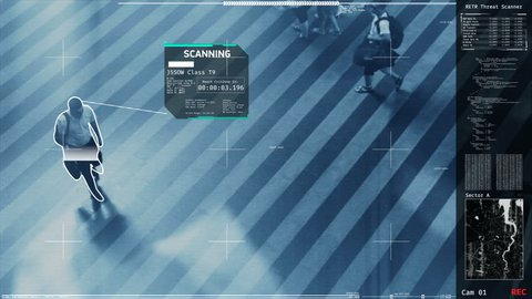 Security screening in public places, potential terrorists detection, scanning. Futuristic security scanner