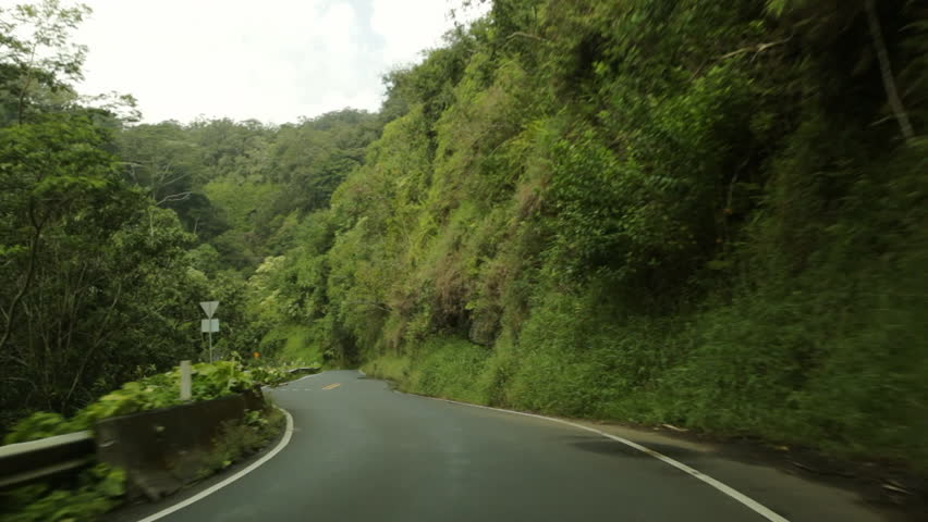 Car POV driving on Hana Highway, Maui, Hawaii. Also known as the Road to Hana, the highway is famous for its slow, curving route through dense foliage.