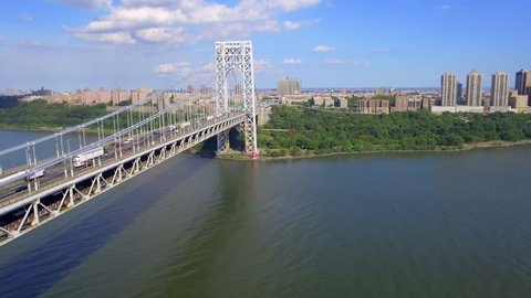 Aerial George Washington suspension Bridge
