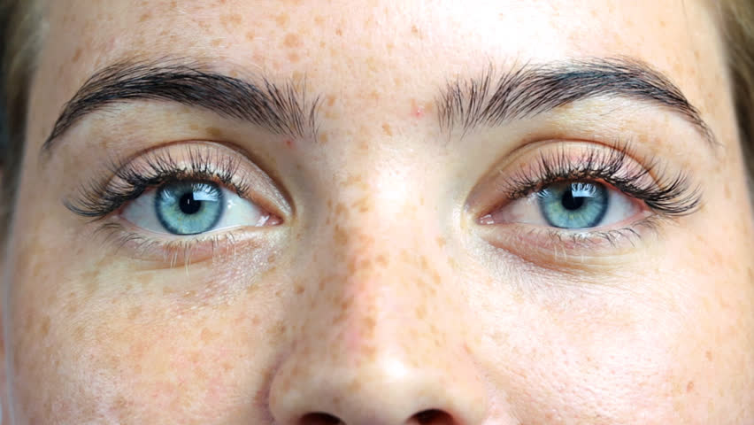 Eyes of the girl close-up, concept with open eyes, extended lashes