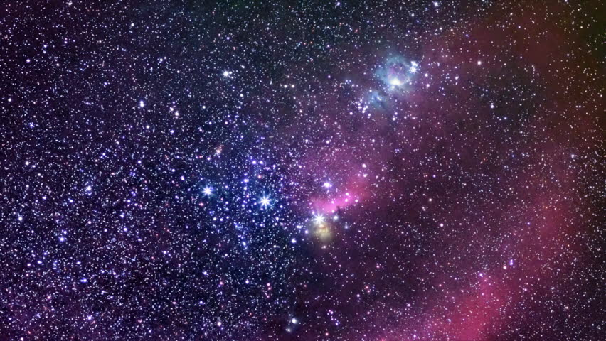 Orion The Hunter. Constellation of Orion in real night sky.