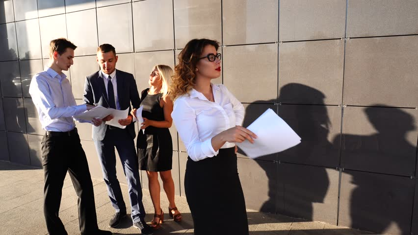 high quality office work. woman with documents wave papaer tired concept of business negotiation problem solving working high quality office work i
