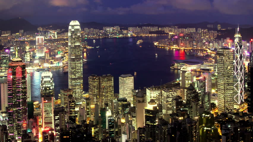 Business City. Hong Kong. Timelapse video from day to night