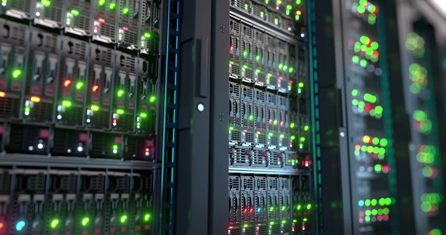 Servers close up.  Modern datacenter. Cloud computing. Loopable 8k 4k UHD Server in datacenter. Cloud computing data storage 3d rendering. 8k 4k closeup loopable animation | Shutterstock HD Video #19714699