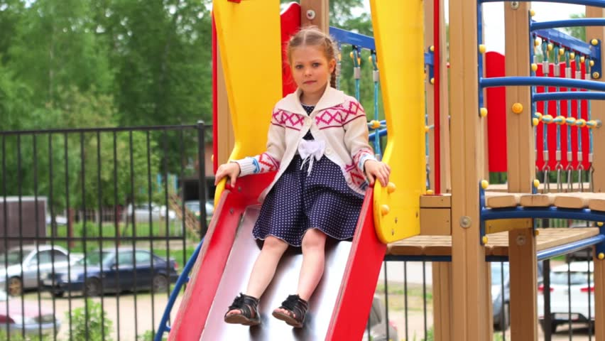 f946c4c93fa85 Little Girl in Dress Slides Stock Footage Video (100% Royalty-free ...