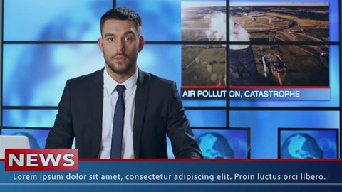 Male News Presenter Speaking About Ecology and Pollution. Shot on RED Cinema Camera in 4K (UHD).