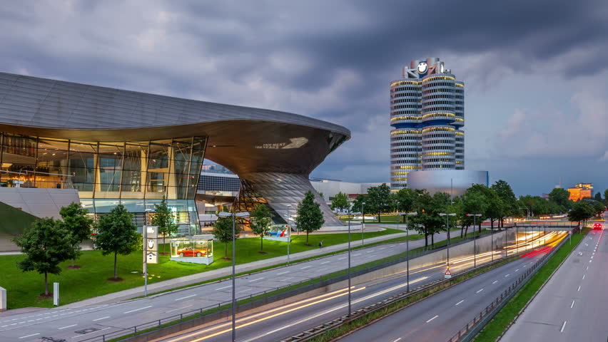 MUNICH, GERMANY - JULY 27, 2016: Hyperlapse video of BMW World (BMW Welt) near the Olympicpark in Munich, Germany. Timelapse view in 4K.