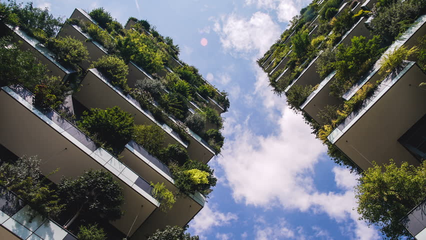 Milan, Italy - September 2016: Bosco Verticale or Vertical Forest is the Best tall building worldwide. Is composed of two residential towers with a large variety of trees and plants on the balconies.