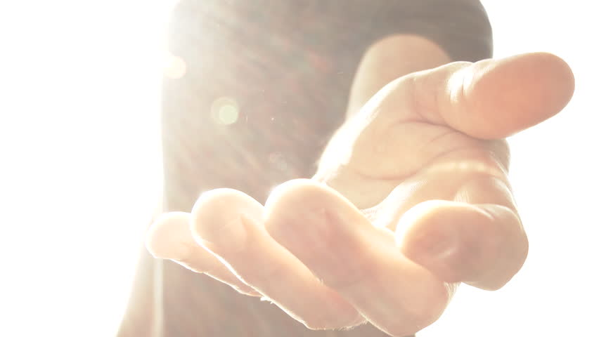 Angelic being reaches out hand and gestures to come with him into the light.