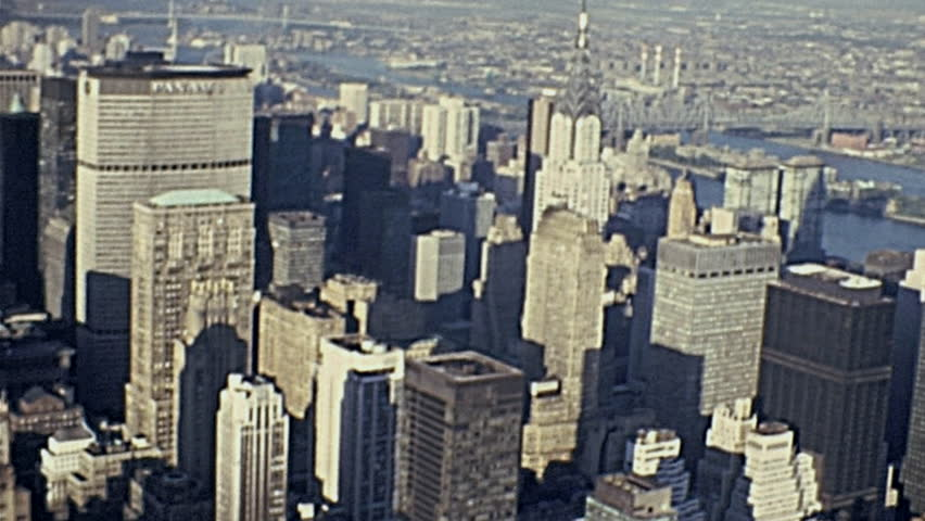New York 1972: the skyline from Empire State building terrace in 1972 in New York | Shutterstock HD Video #19784383