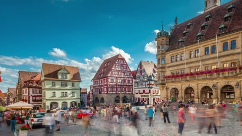 ROTHENBURG OB DER TAUBER, GERMANY - JULY 29, 2016: Hyperlapse video of Main square in old town Rothenburg ob der Tauber, Bavaria, Germany. Timelapse view in 4K.