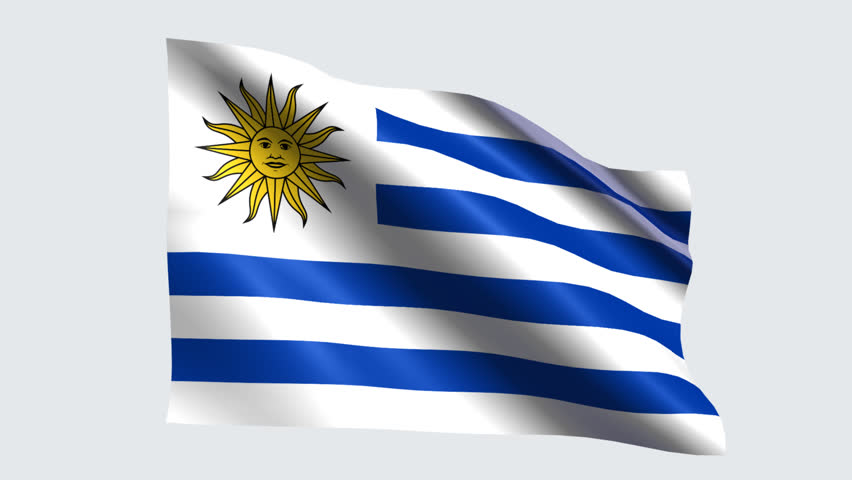 Uruguay Flag With Transparent Background Stock Footage Video - Uruguay flag