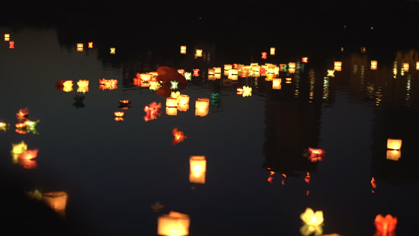 Floating Lotus Flower Paper Lanterns Stock Footage Video 100