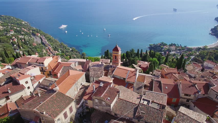 France, Alpes Maritimes, Nice, Aerial view of the hilltop village of Roquebrune Cap Martin, 4K, UHD (3840X2160) #19788943