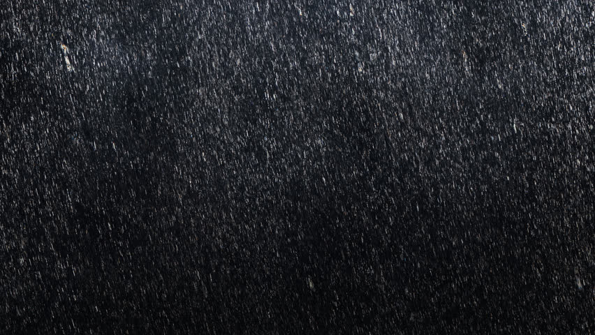 Falling raindrops footage animation in slow motion on dark black background with fog, lightened from top, seamlessly looped rain animation, perfect for film, digital composition, projection mapping