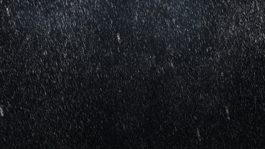 Falling raindrops footage animation in slow motion on dark black background with fog, lightened from top, rain animation with start and end, perfect for film, digital composition, projection mapping #19794223