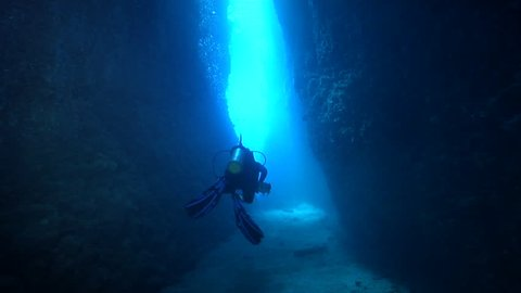 Point and shoot photographer swimming in cavern in Solomon Islands, HD, UP18602